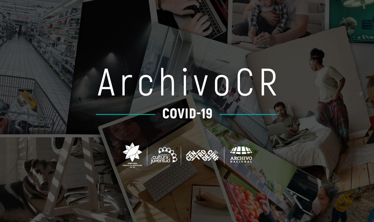 Gráfico Archivo CR Covid-19 logos de Presidencia de Costa Rica, Ministerio de Cultura y Juventud, Centro de Cine, Archivo Nacional