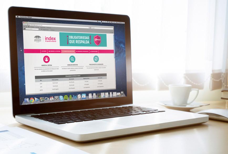 Foto de laptop dónde en la pantalla se ve la página web de Index